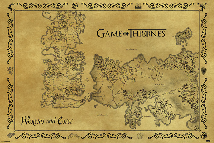 Game of Thrones - Trono di Spade - Antique map