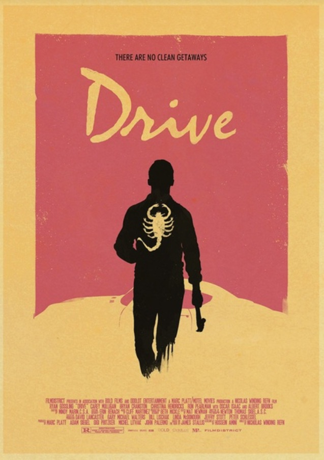 Drive - retro poster su cartoncino kraft - There are no clean geataways