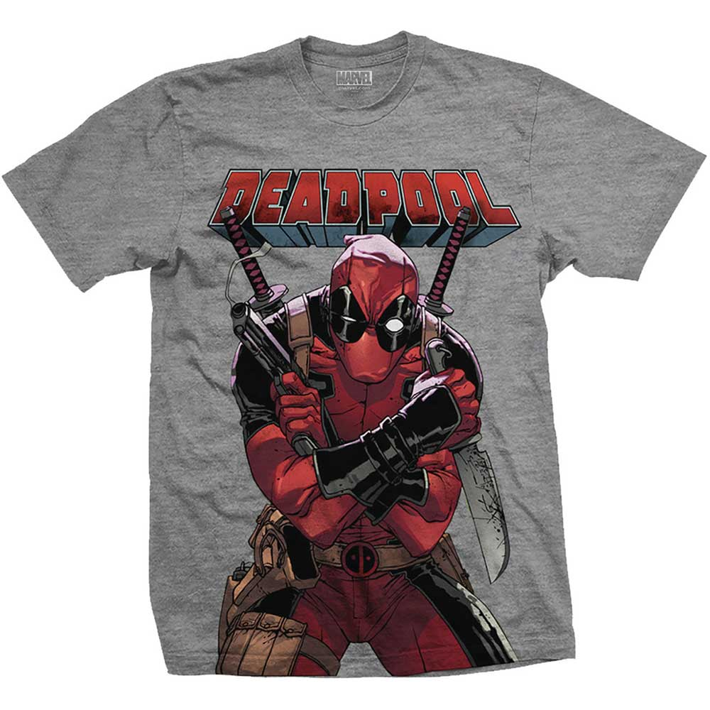 Deadpool - Big print mens grey (Marvel)